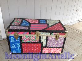 Hand painted Patchwork Boho steamer trunk.. by Moonlight-Arts
