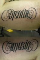 Ambigram 'Breathe' 'Music' by cujo23