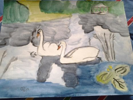 Two swans on the river. by Dragonmaster003