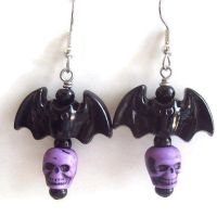 Bat Earrings with Skulls by BastsBoutique
