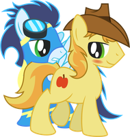 Braeburn and Soarin by Jakage