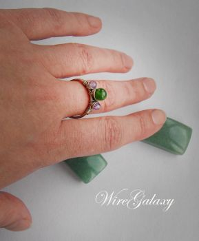 Ring with Chrysoprase and Amethyst by WireGalaxy
