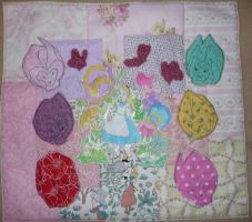 Alice In Wonderland Flowers Textile Piece by Count-Your-Rainbows