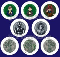 More Doctor Who buttons: Wilf and Villians by JesIdres