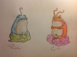 Zephos and Cyclos Watercolor. by CrimeBaby