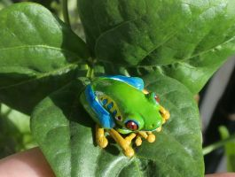 Frog Jewelry - Red Eye Tree Frog Pendant on Leaf by CaterpillarArts