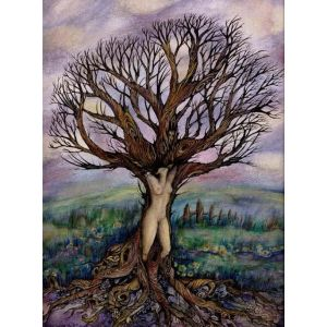 Dryad Tree Goddess original painting Liza Paizis
