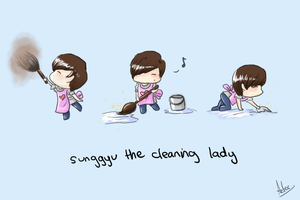 Sunggyu the Cleaning Lady by tangerine-skye