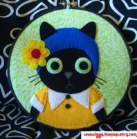 Flapper Black Kitty Cat Embroidery by iggystarpup