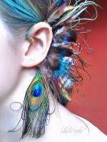 Peacock Feathers Ear Cuff by ShirNek0