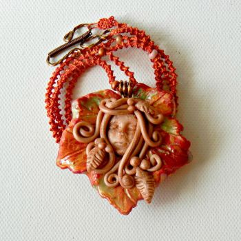Autumn Goddess Pendant On Spiral Tattted Cord by ATatteredCanvas