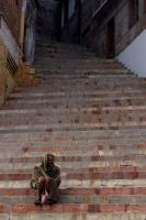 Man in the stairs  of varanasi by subcoolandice
