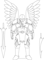 Angel Knight Lineart ver. 1 by omegaarchetype