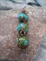 Brass Wire Wrapped Turquoise Stoned Necklace by DaisyLeeDesigns