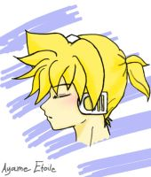 My First Drawing of Len Kagamine by ayame-san16