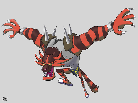 Crossover Pokefusion: Tiny Tiger the Incineroar by A3DNazRigar