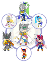 Assorted Chibis - AU Hexafusion 11 by Dragon-FangX