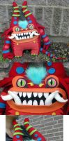 big red monster plush by missmonster