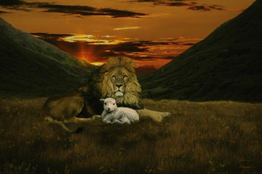 The Lion and the Lamb-1 by Grace-love-kindness