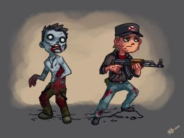 zombie and survivor concept art by Pa-Go