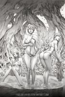 three girls in the forest by paulobarrios