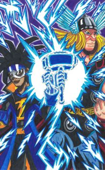 Static Shock and Thor: The Power of Lightning! by d13mon-studios