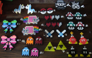 Perler Hair Clips 3 by Blackshadowbutterfly