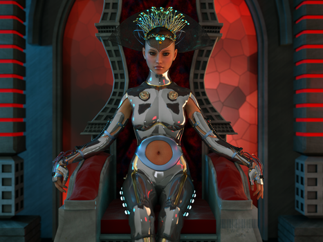 Gynoid 0x21 - Cyber Queen by TweezeTyne