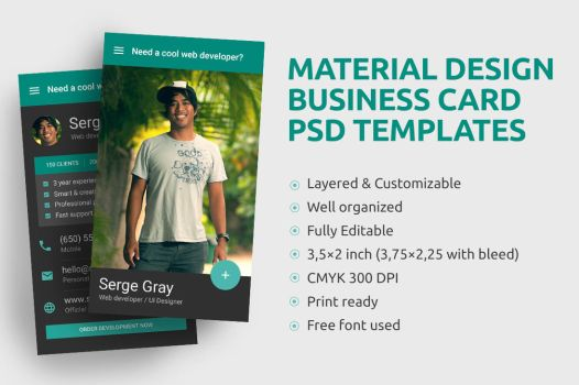 Material Design Business Card PSD template by iamvinyljunkie
