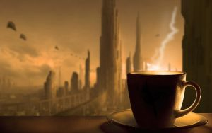 Drinking coffe in Brave New World by Shinaig