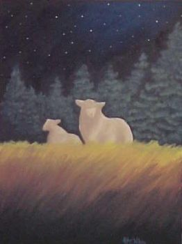 Sheep in Moonlight -- Acrylics by eccentricone