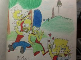 The simpsons:At the Seoul Namsan tower. by komi114