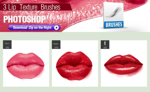 3 Photoshop Brushes for Painting Lip Texture by pixelstains