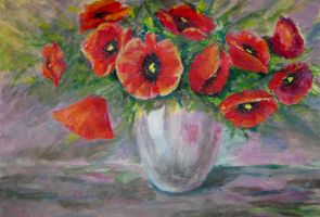 poppies acrylic by alflamme