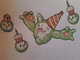 Reuniclus and Solosis Party by OEmilyThePenguinO