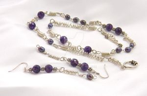 Amethyst, pearl, silver necklace and earrings 1 by Dragonmum