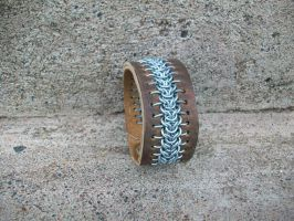 Leather and Chainmail Cuff by CopperTreeDesign