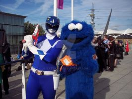 Blue Ranger and Cookie Monster by Cazza2010