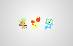 Pokemon X and Y Starters - Minimalistic Wallpaper by mute-owl