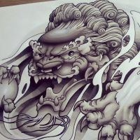 Chinese Foo Dog B+G Design by funkt-green