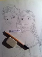 Frozen - Elsa and Anna Sketch by Sharsel