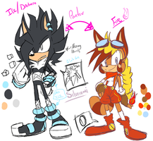 Icebo the hedgehog and Linny the raccon { Ref} by Zubwayori