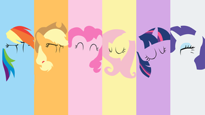 Mane Six Minimalistic Wallpaper by Browniehooves