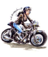Cafe-racer girl on a Triumph by xobule