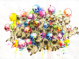 Pugs and Skulls by lora-zombie