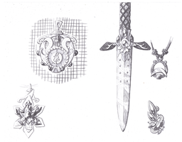 Dagger and pendants, pencil shaded sketch by FoldawayWings