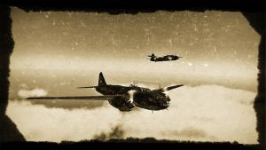 2 G4M1 bombers, japanese (sepia) by deupiner