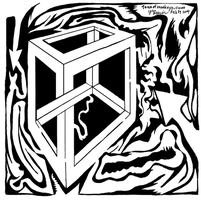 Maze of Optical Illusion Cube by ink-blot-mazes
