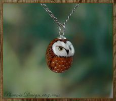 Ceramic Owl Pendant - Dark Brown and White by StephaniePride