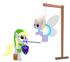 Derpy and Dinky Cosplay as Link and Navi by REPLAYMASTEROFTIME